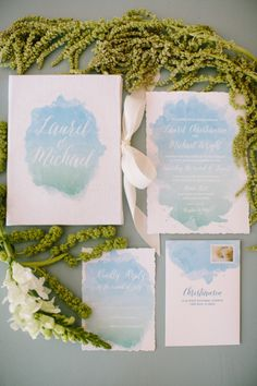 Monet watercolor inspired wedding invitations: http://www.stylemepretty.com/illinois-weddings/chicago/2014/10/22/monets-water-lily-bridal-inspiration/ | Photography: Katie Kett - http://www.katiekettphotography.com/