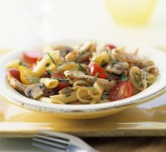Cherry tomatoes, sliced mushrooms, and chicken are tossed with penne #pasta to create this easy (and healthy!) dinner.