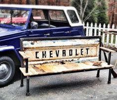 From vintage tailgates to benches  #Bench, #CarParts, #ReclaimedWood, #Tailgate