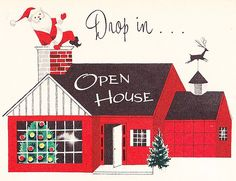 Vintage open house party invitation