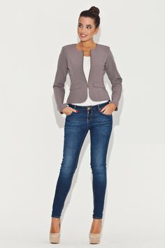 Veste casual grise, manches longues - Mademoiselle Grenade -