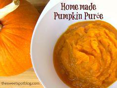 Homemade Pumpkin Puree by The Sweet Spot Blog http://thesweetspotblog.com/pumpkin-puree-homemade-organic/  #pumpkin #recipes #halloween #thanksgiving