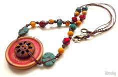 button, cord necklac, czech glass, glass bead