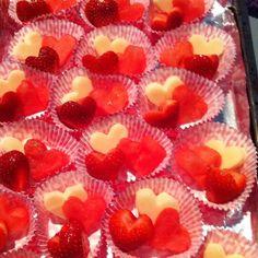 Valentine snacks for class. Heart shaped mozzarella, watermelon and strawberries.