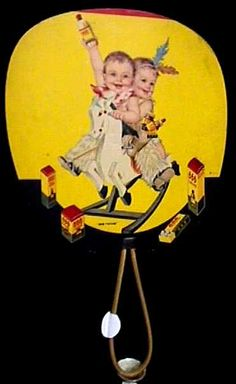 Advertising Fan Lithograph 1935 Advertising 666 Twins