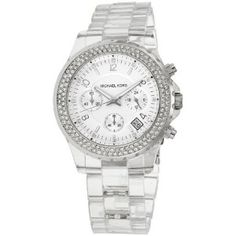 LOVE this Michael Kors clear watch-- it matches EVERYTHING-- and it's over 40% off and ships FREE! Obsessed!