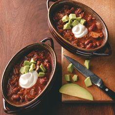Hearty Vegetarian Chili Recipe from Taste of Home -- shared by Pam Ivbuls of Omaha, Nebraska