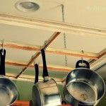 DIY Old Window Pot Rack.... how can i change this for my loft? maybe  an old window light fixture?
