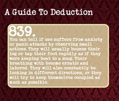 It's true. We try to keep ourselves occupied so we have something to stave off the nervousness. beats, adhd, guid to deduction, deduction sherlock, writing tips, a guide to deductions, anxieti, 839, sherlock deductions