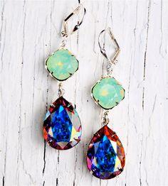 Pacific Green Opal Aurora Borealis Vintage Swarovski by MASHUGANA