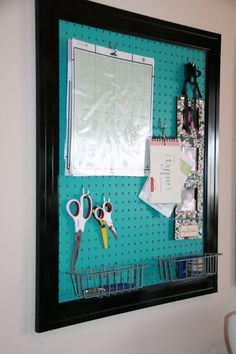 Craftaholics Anonymous® | Missys Craft Room TOUR! {guest blogger} Love the painted peg board in a frame for craft room Organization Board, Scrapbook Room, Room Organization, Frame Peg, Offic, Peg Boards, Pegboard, Old Frames, Craft Rooms