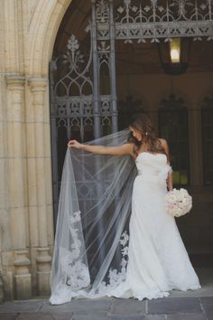 Embroidered Cathedral Length Bridal Veil