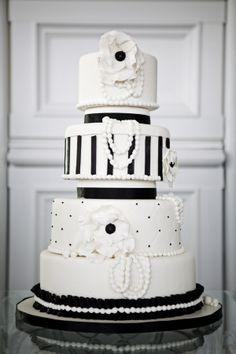 Elegant black and white cake