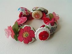 Button Bracelets using fabric covered buttons