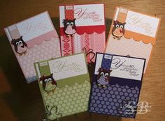 Stampin Up: Owl Builder Punch. Made a set using all the in-colours or colours in a family!