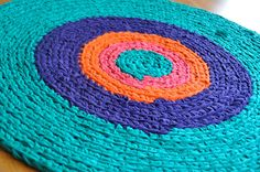 Jewel Tones Crochet Rug by ekra on Etsy
