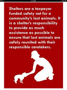 From the No Kill Advocacy Center.  Shelters have a responsibility to help reunite lost pets with their owners.