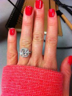 cushion cut halo diamond ring.
