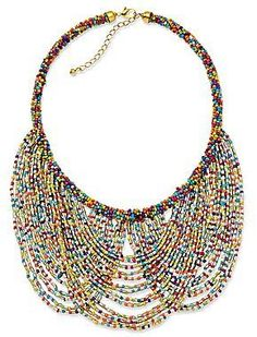Multicolor Seed Bead Peter Pan Collar Necklace,