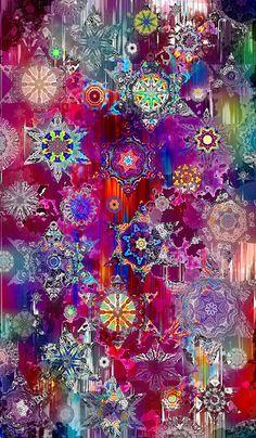 Textile Artist Fabric Large Panel Star Plum Red Kaleidoscope Fiber Art Quilting