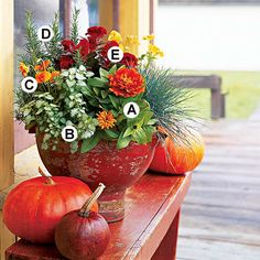 fall decor, fall planters, fall container gardening, fall recipes, color, fall gardening, decor idea, arrang, fall flower gardens