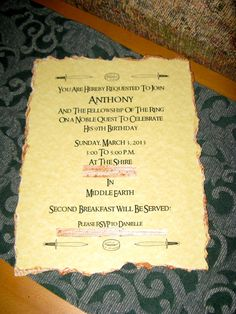 Lord Of The Rings Birthday Invitation Wording
