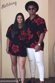 Luau Party Ready! Matching Couples Clothing Set. Hawaiian Shirt & Kaftan in 'Red Hibiscus' classic hawaiian print. Fancy Dress Costume, Luau Party, Cruising, Honeymoon or Halloween. Stand out from the crowd in this funky set.  #matchymatchy #cruisewear #honeymoon #tackytourists #islandstyleclothing #fancydress #hawaiianshirt #kaftan #poncho #couplesgoals #fashion #springbreak #cruise #cruiseclothing #hibiscusdress #luaudress