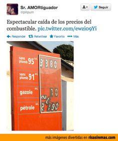 Espectacular caída de los precios del combustible.