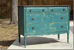 Distressed Teal Layered Paint Dresser