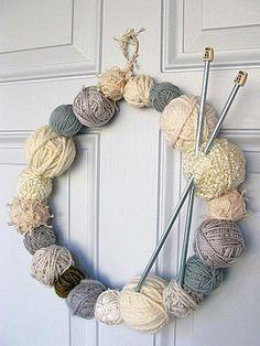 christmas wreaths, knitting needles, ball, crochet hooks, yarns, door, winter wreaths, yarn wreaths, craft rooms