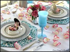 the poor sophisticate: Guest Valentines Tablescape tablescapest set, animals, turquoise, valentine day, lakes, leopards, flowers, guest valentin, valentin tablescap