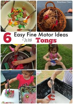 6 fun fine motor ideas with tongs for toddlers - see them all at mummy musings and mayhem!