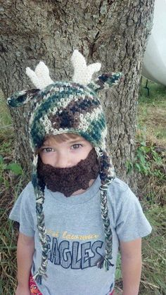 Camo Deer Crochet Hat with Matching Brown by MimisBabiesProps, $32.00