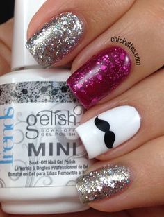 Movember Mustache Mani using Gelish Trends Glitter Toppers