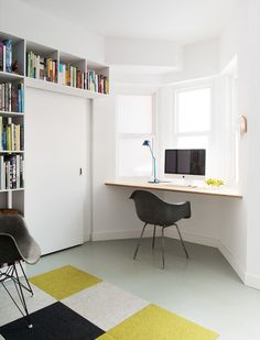 bay window desk, stile interior, office nook, contemporary homes, bays, architecture interiors, bay windows, offic idea, home offices