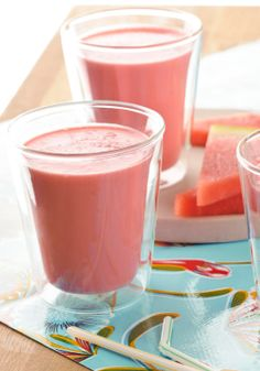 Watermelon Smoothie — Fat-free Greek-style yogurt and chopped watermelon are sweetened with strawberry-flavored drink mix to make these yummy smoothies.