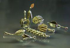Gail Crossman Moore - metal clay pod pendants