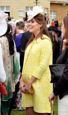The Duchess of Cambridge wore a yellow coat by Emilia Wickstead to a garden party hosted by Queen Elizabeth II.