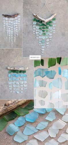 Sea glass mobiles