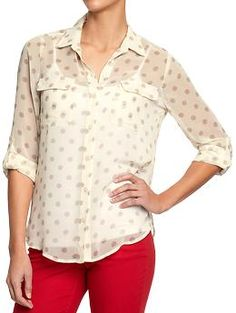 Women's Button-Front Chiffon Tops | Old Navy