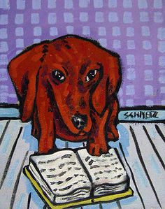 DACHSHUND READING a book picture dog art print 8x10