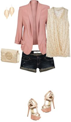 Shorts and a Blazer, created by jill-hammel on Polyvore