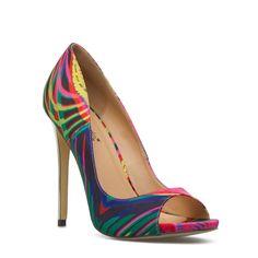 Love these, so colorful. peep toe, dazzl pump