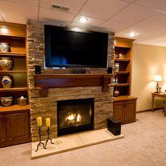 hgtv indoor stone veneer | Basement tv above fireplace Design Ideas, Pictures, Remodel and Decor