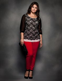 This scallop edge lace blouse gets a pop back to a red slim pant.  Pair with the accessory of the season...the clutch purse.