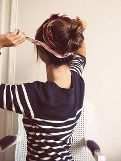 .bun with scarf
