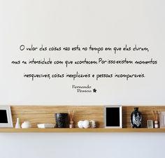 PArede que inspira: adesivo de parede O Valor das Coisas de Fernando Pessoa, by I-Stick