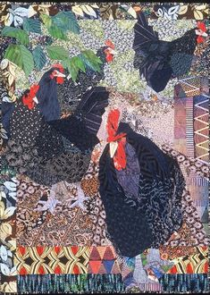 While teaching a design class at Madame Blu's quilt store near Copenhagen, I was often accompanied by these vociferous black chickens. Apparently most of the hens had been taken by a fox, and the remaining roosters were left to compete for dominance in a crowing contest all day long. ruth mcdowell quilts, art quilt, rooster, chicken art, print, hen, small art