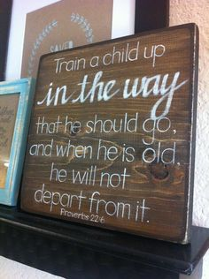 Train a Child Up - 9x9 Wood Block - Made to Order- Proverbs 22:6 - Nursery Art - Baby Shower Gift. $52.00, via Etsy.