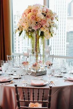 floral centerpieces, amaranthus centerpiece, blush pink, lillies and peonies, flower